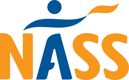 NASS Facemask with Blue and Orange Spine | National Axial Spondyloarthritis Society