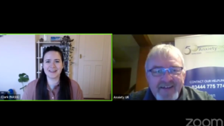 Screenshot of Facebook live video showing Zoe Clark speaking with Dave Smithson