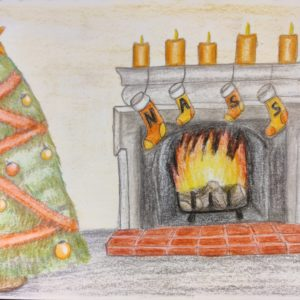 Christmas Cards Festive fireplace by Tracy Cobbold