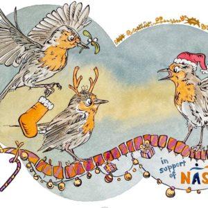 Festive Robins designed by Kamlesh Patel